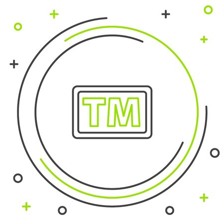 Line Trademark icon isolated on white background. Abbreviation of TM. Colorful outline concept. Vector.