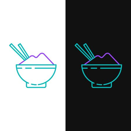 Line Rice in a bowl with chopstick icon isolated on white and black background. Traditional Asian food. Colorful outline concept. Vector.
