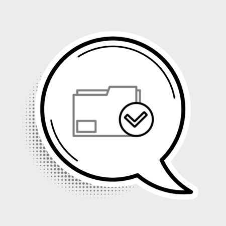 Line Document folder and check mark icon isolated on grey background. Checklist icon. Business concept. Colorful outline concept. Vector. Foto de archivo - 150480217
