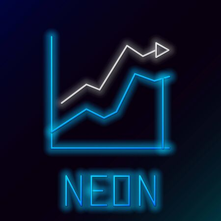 Glowing neon line Oil price increase icon isolated on black background. Oil industry crisis concept. Colorful outline concept. Vector.