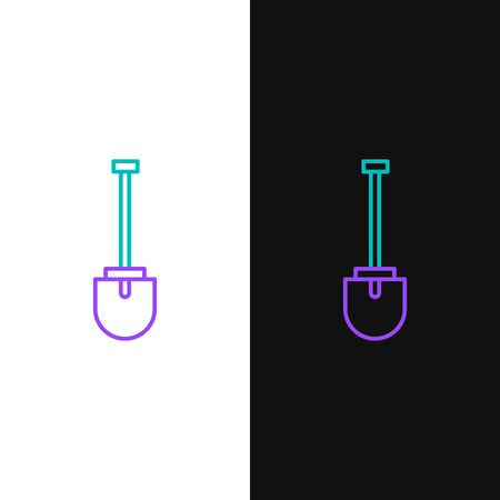 Line Shovel icon isolated on white and black background. Gardening tool. Tool for horticulture, agriculture, farming. Colorful outline concept. Vector.