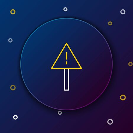 Line Exclamation mark in triangle icon isolated on blue background. Hazard warning sign, careful, attention, danger warning sign. Colorful outline concept. Vector.