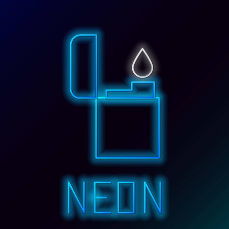 Glowing neon line Lighter icon isolated on black background. Colorful outline concept. Vector. 向量圖像