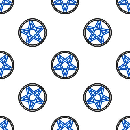 Line Pentagram in a circle icon isolated seamless pattern on white background. Magic occult star symbol. Colorful outline concept. Vector. 写真素材 - 150479387
