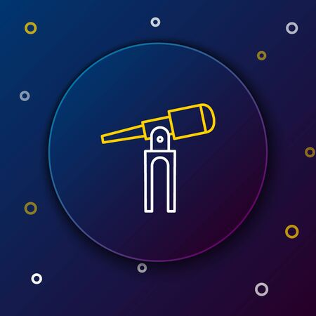 Line Telescope icon isolated on blue background. Scientific tool. Education and astronomy element, spyglass and study stars. Colorful outline concept. Vector. Çizim