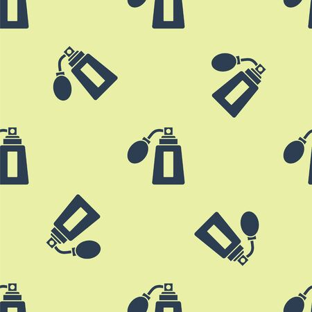 Blue Aftershave bottle with atomizer icon isolated seamless pattern on yellow background. Cologne spray icon. Male perfume bottle. Vector Illustration.  イラスト・ベクター素材