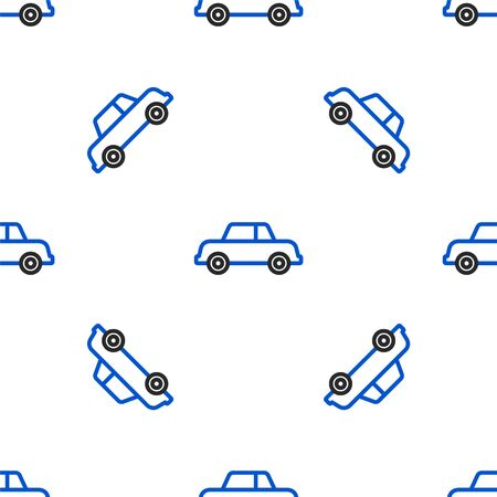 Line Car icon isolated seamless pattern on white background. Colorful outline concept. Vector. Illusztráció