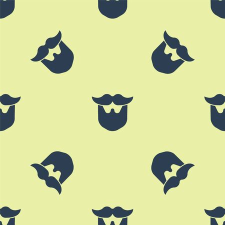 Blue Mustache and beard icon isolated seamless pattern on yellow background. Barbershop symbol. Facial hair style. Vector Illustration. 写真素材 - 150476393