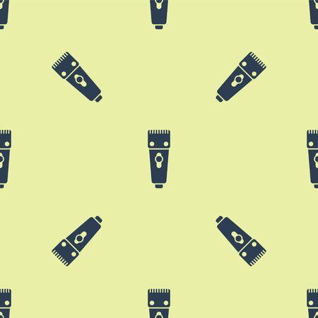 Blue Electrical hair clipper or shaver icon isolated seamless pattern on yellow background. Barbershop symbol. Vector Illustration. 写真素材 - 150476394