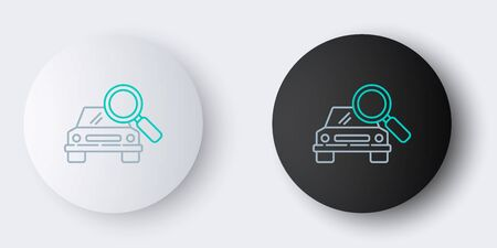 Line Car search icon isolated on grey background. Magnifying glass with car. Colorful outline concept. Vector.