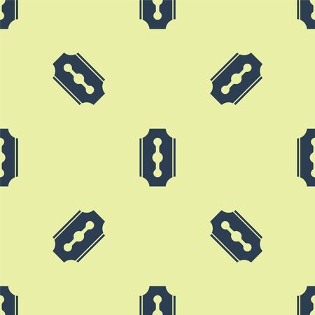 Blue Blade razor icon isolated seamless pattern on yellow background. Vector Illustration.  イラスト・ベクター素材