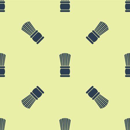 Blue Shaving brush icon isolated seamless pattern on yellow background. Barbershop symbol. Vector Illustration.