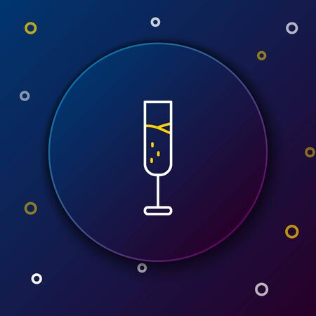 Line Glass of champagne icon isolated on blue background. Colorful outline concept. Vector. 向量圖像