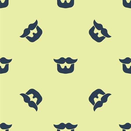 Blue Mustache and beard icon isolated seamless pattern on yellow background. Barbershop symbol. Facial hair style. Vector Illustration.