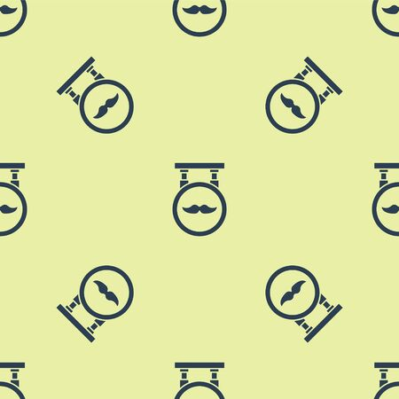 Blue Barber Shop icon isolated seamless pattern on yellow background.