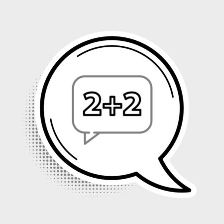 Line Math system of equation solution on speech bubble icon isolated on grey background. Colorful outline concept. Vector. Illusztráció