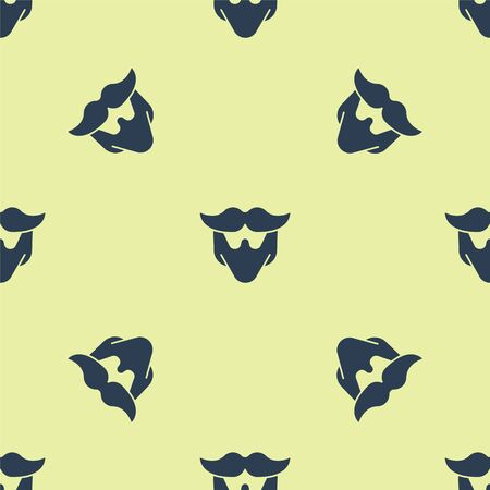 Blue Mustache and beard icon isolated seamless pattern on yellow background. Barbershop symbol. Facial hair style. Vector Illustration. 写真素材 - 150476426