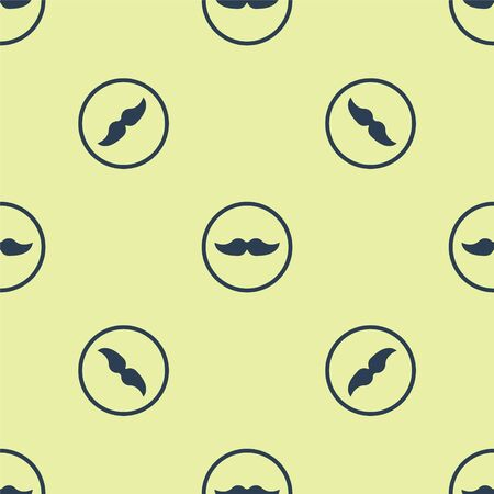 Blue Mustache icon isolated seamless pattern on yellow background. Barbershop symbol. Facial hair style. Vector Illustration.