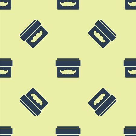 Blue Cream or lotion cosmetic jar icon isolated seamless pattern on yellow background. Body care products for men. Vector Illustration.