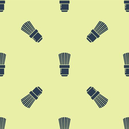 Blue Shaving brush icon isolated seamless pattern on yellow background. Barbershop symbol. Vector Illustration. 写真素材 - 150476490