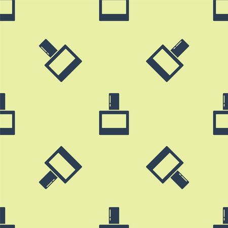 Blue Aftershave icon isolated seamless pattern on yellow background. Cologne spray icon. Male perfume bottle. Vector Illustration.
