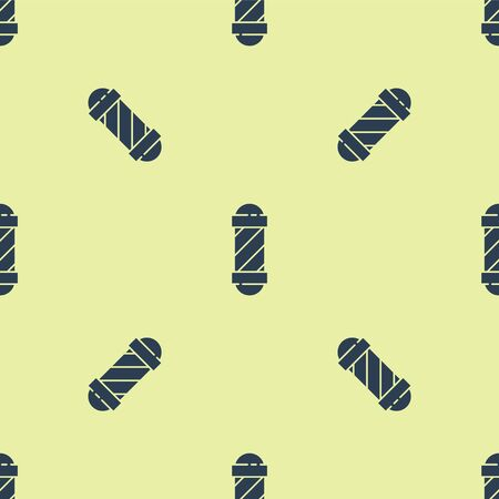 Blue Classic Barber shop pole icon isolated seamless pattern on yellow background. Barbershop pole symbol. Vector Illustration.