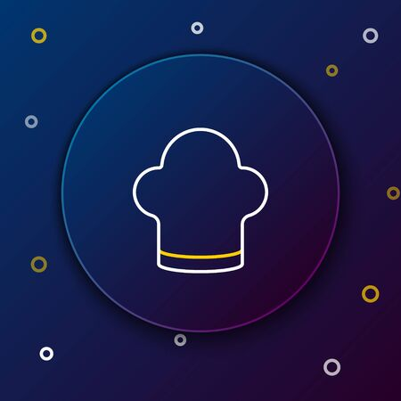 Line Chef hat icon isolated on blue background. Cooking symbol. Cooks hat. Colorful outline concept. Vector.