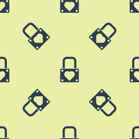 Blue Lock and heart icon isolated seamless pattern on yellow background. Locked Heart. Love symbol and keyhole sign. Valentines day symbol. Vector Illustration. 일러스트