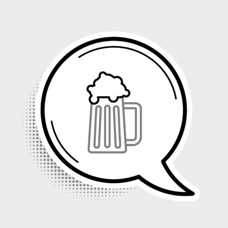 Line Wooden beer mug icon isolated on grey background. Colorful outline concept. Vector. 向量圖像