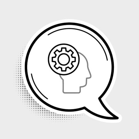 Line Human head with gear inside icon isolated on grey background. Artificial intelligence. Thinking brain sign. Symbol work of brain. Colorful outline concept. Vector.