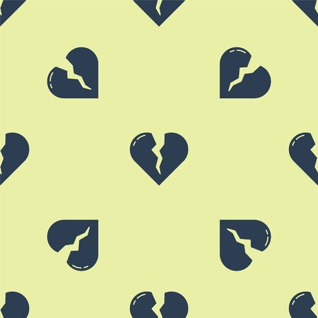 Blue Broken heart or divorce icon isolated seamless pattern on yellow background. Love symbol. Valentines day. Vector Illustration. 일러스트