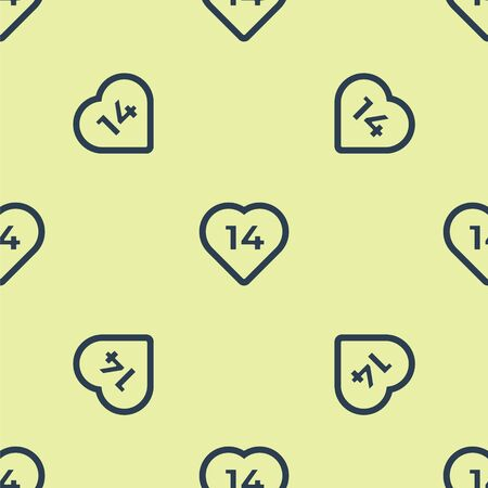 Blue Heart icon isolated seamless pattern on yellow background. Romantic symbol linked, join, passion and wedding. Valentine day. February 14. Vector Illustration.