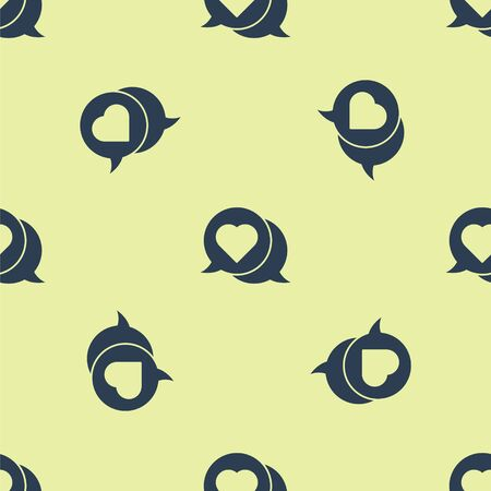 Blue Heart in speech bubble icon isolated seamless pattern on yellow background. Vector Illustration.