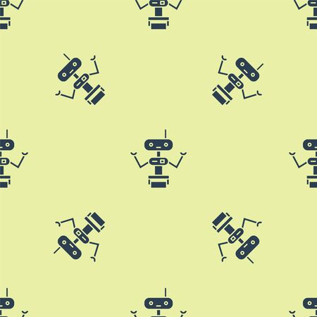 Blue Robot icon isolated seamless pattern on yellow background. Vector Illustration.