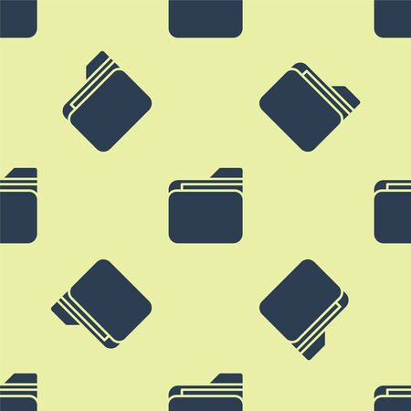 Blue Document folder icon isolated seamless pattern on yellow background. Accounting binder symbol. Bookkeeping management. Vector Illustration.