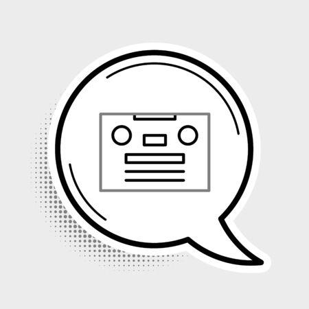Line Retro audio cassette tape icon isolated on grey background. Colorful outline concept. Vector. Ilustração