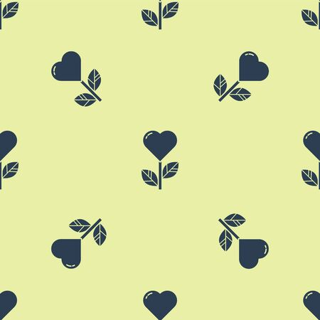 Blue Heart shape in a flower icon isolated seamless pattern on yellow background. Vector Illustration.