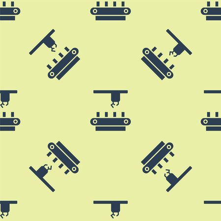 Blue Factory conveyor system belt icon isolated seamless pattern on yellow background. Robot industry concept. Vector Illustration.