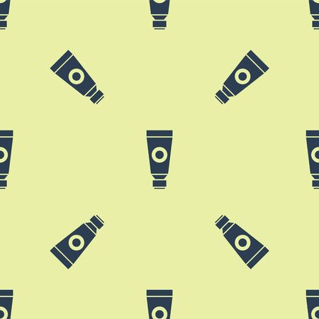 Blue Cream or lotion cosmetic tube icon isolated seamless pattern on yellow background. Body care products for men. Vector Illustration.