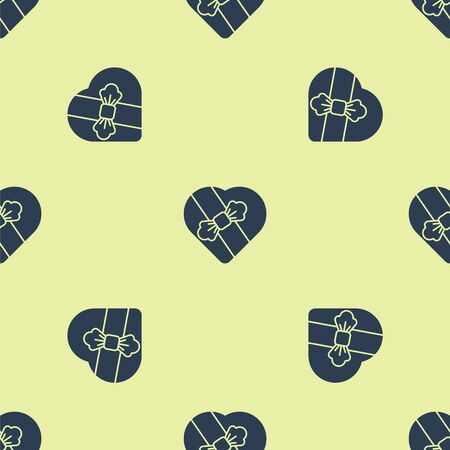 Blue Candy in heart shaped box and bow icon isolated seamless pattern on yellow background. Valentines Day. Vector Illustration.