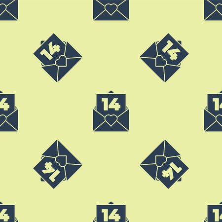 Blue Envelope with Valentine heart icon isolated seamless pattern on yellow background. Message love. Letter love and romance. Vector Illustration.