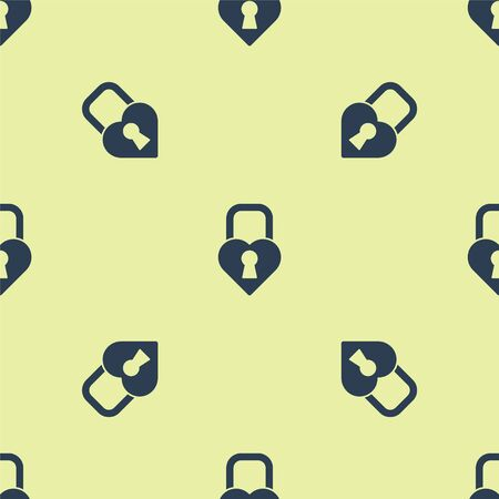 Blue Castle in the shape of a heart icon isolated seamless pattern on yellow background. Locked Heart. Love symbol and keyhole sign. Valentines day. Vector Illustration.
