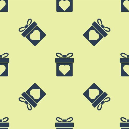 Blue Gift box with heart icon isolated seamless pattern on yellow background. Valentines day. Vector Illustration.