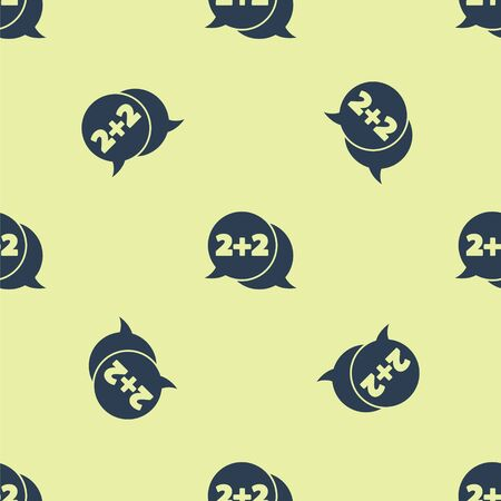 Blue Math system of equation solution on speech bubble icon isolated seamless pattern on yellow background. Vector Illustration. Illusztráció