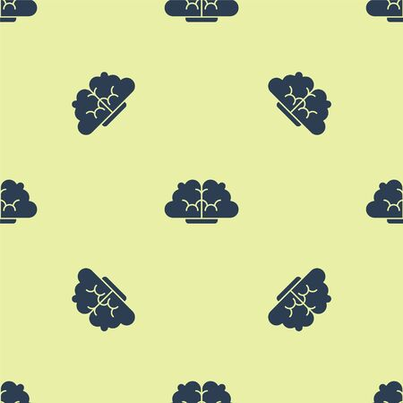 Blue Human brain icon isolated seamless pattern on yellow background. Vector Illustration.