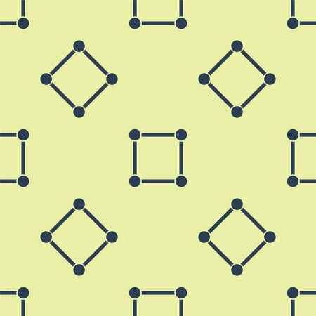 Blue Geometric figure Square icon isolated seamless pattern on yellow background. Abstract shape. Geometric ornament. Vector Illustration.