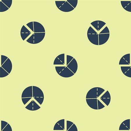 Blue Graph, schedule, chart, diagram, infographic, pie graph icon isolated seamless pattern on yellow background. Vector Illustration. Ilustracja