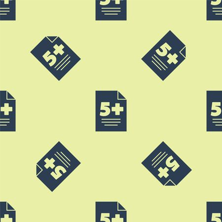 Blue Test or exam sheet icon isolated seamless pattern on yellow background. Test paper, exam or survey concept. Vector Illustration.