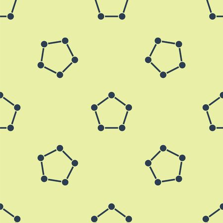 Blue Geometric figure Pentagonal prism icon isolated seamless pattern on yellow background. Abstract shape. Geometric ornament. Vector Illustration. Çizim