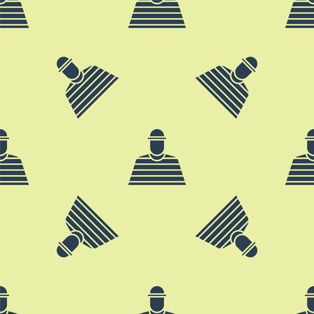 Blue Prisoner icon isolated seamless pattern on yellow background. Vector Illustration.